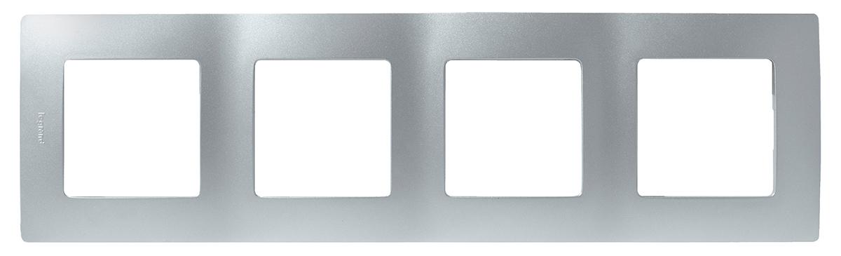 Рамка электроустановочная Legrand Etika, цвет: алюминиевый, на 4 поста рамка для розеток и выключателей bjb basic55 2 поста цвет чёрный