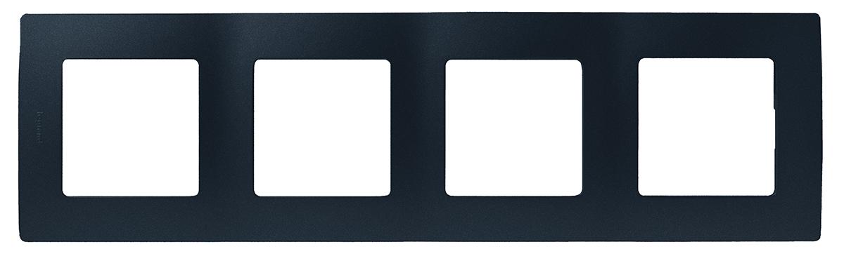 Рамка электроустановочная Legrand Etika, цвет: антрацит, на 4 поста рамка для розеток и выключателей bjb basic55 2 поста цвет чёрный