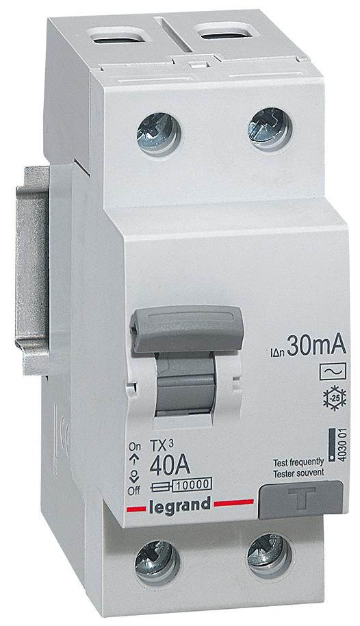 Выключатель дифференциального тока Legrand TX3, 2P, 40A, тип AC