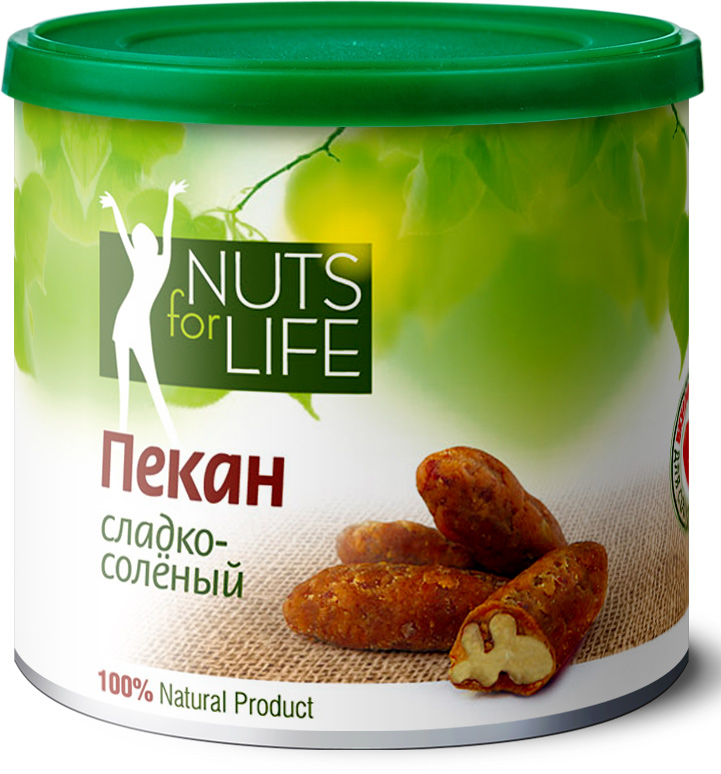 Nuts for Life Пекан обжаренный в сахаре с солью, 115 г