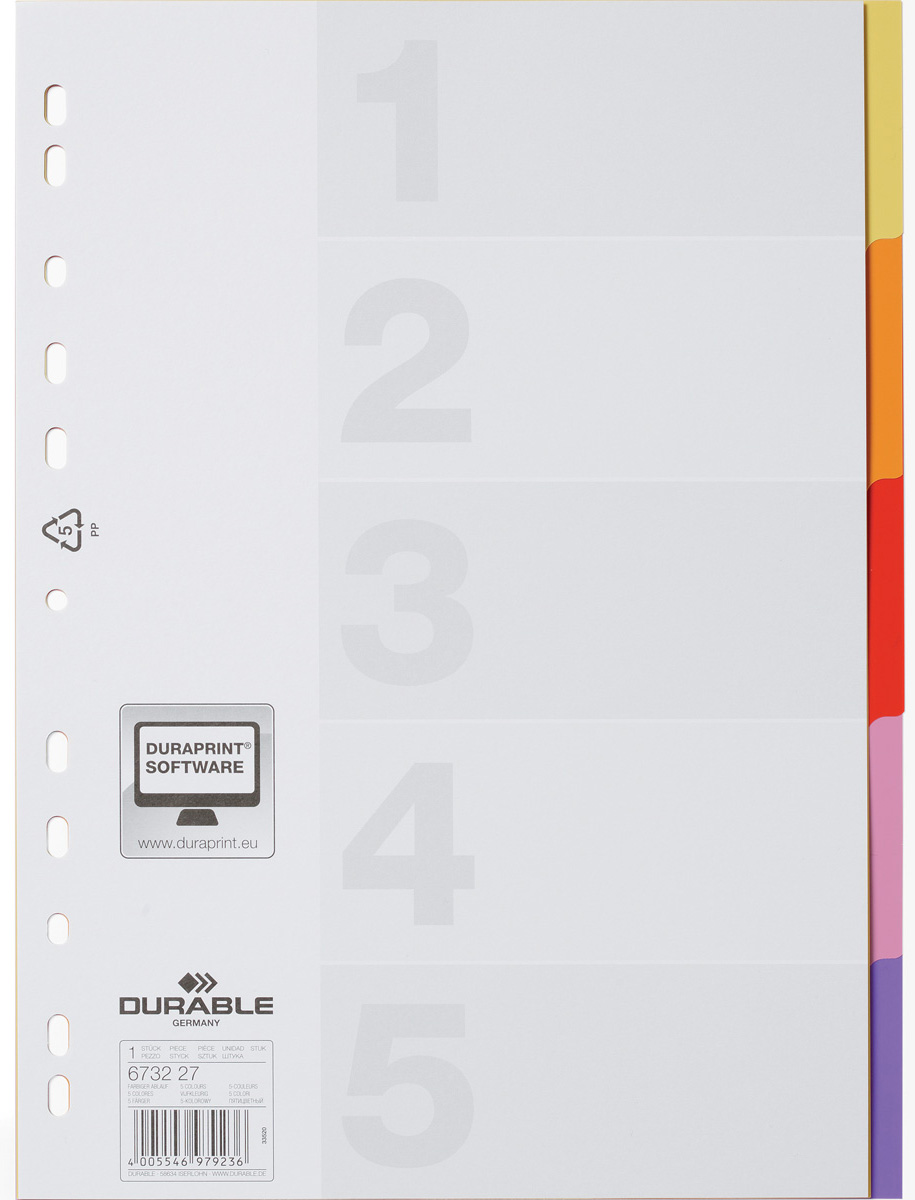 Durable Разделитель Varicolor A4 5 секций