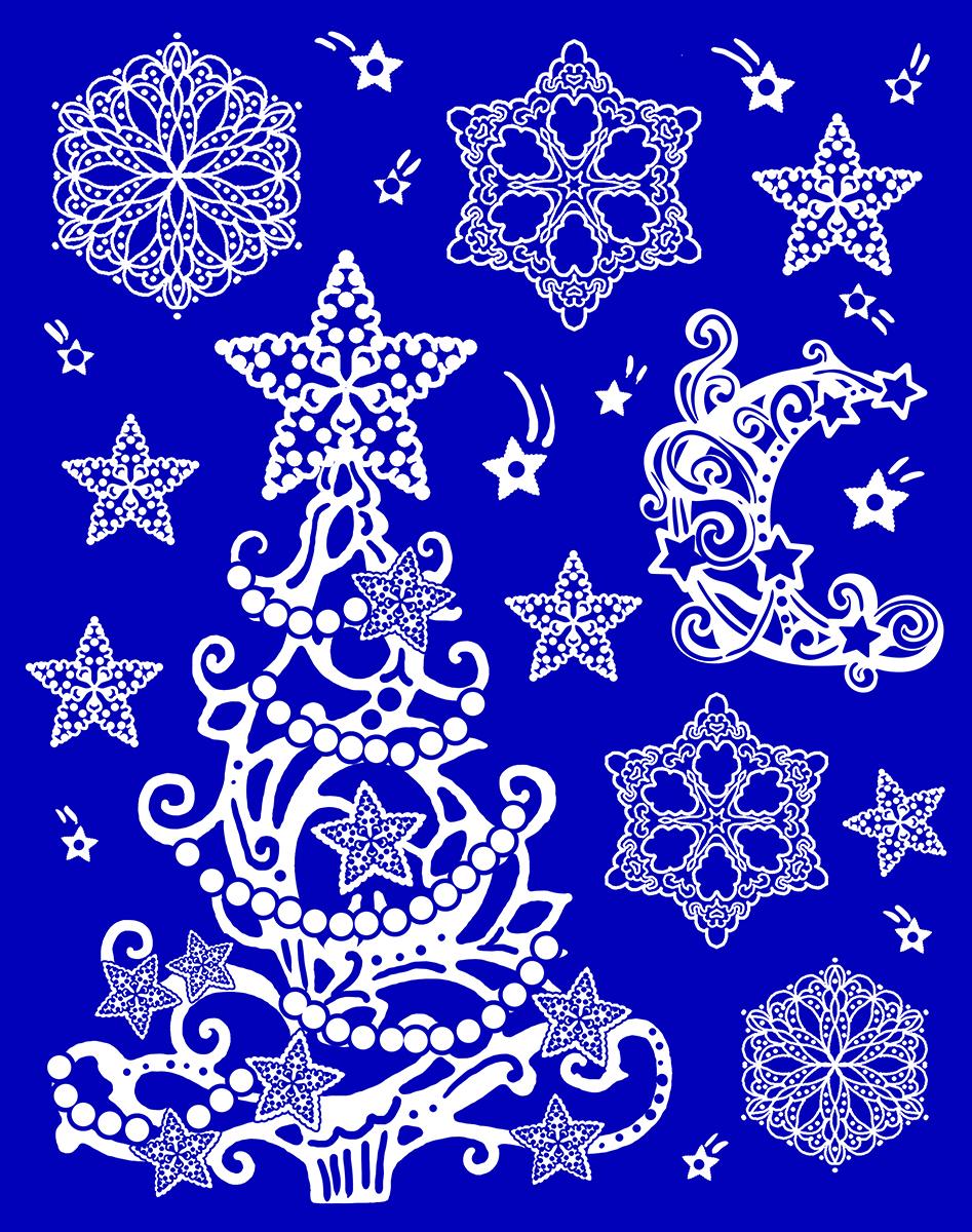 Украшение новогоднее оконное Magic Time. 4175341753Новогоднее оконное украшение выполнено из ПВХ пленки, декорировано глиттером. Крепится к гладкой поверхности стекла посредством статического эффекта. Размер: 30 х 38 см.