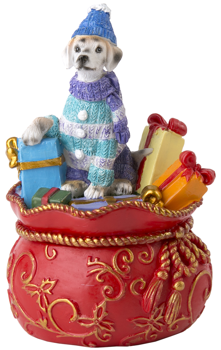 Шкатулка декоративная Magic Time Собака на мешке с подарками. 75545