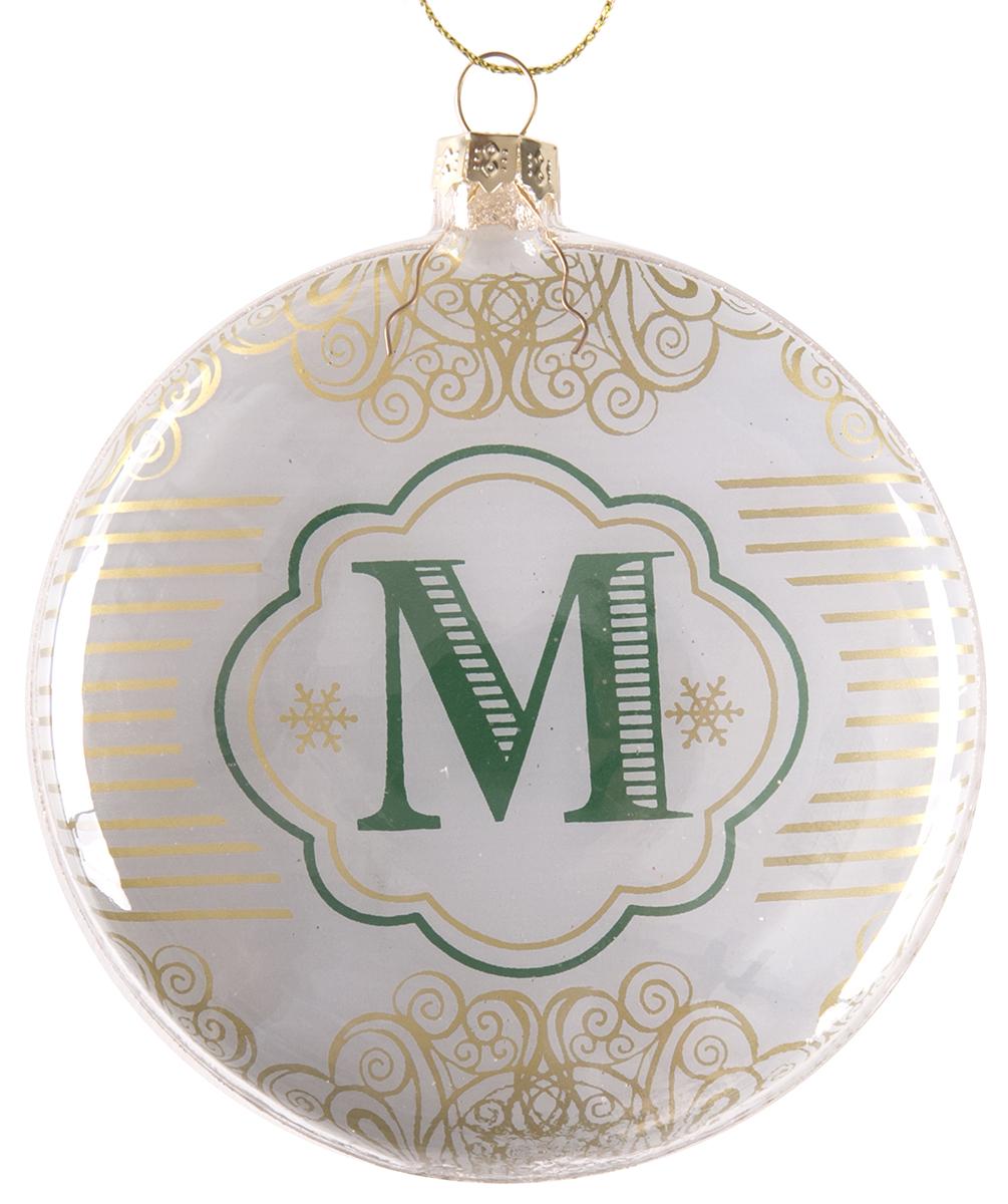 Украшение новогоднее подвесное Magic Time Буква М, стеклянное новогоднее подвесное украшение magic time венок цвет белый диаметр 12 7 см