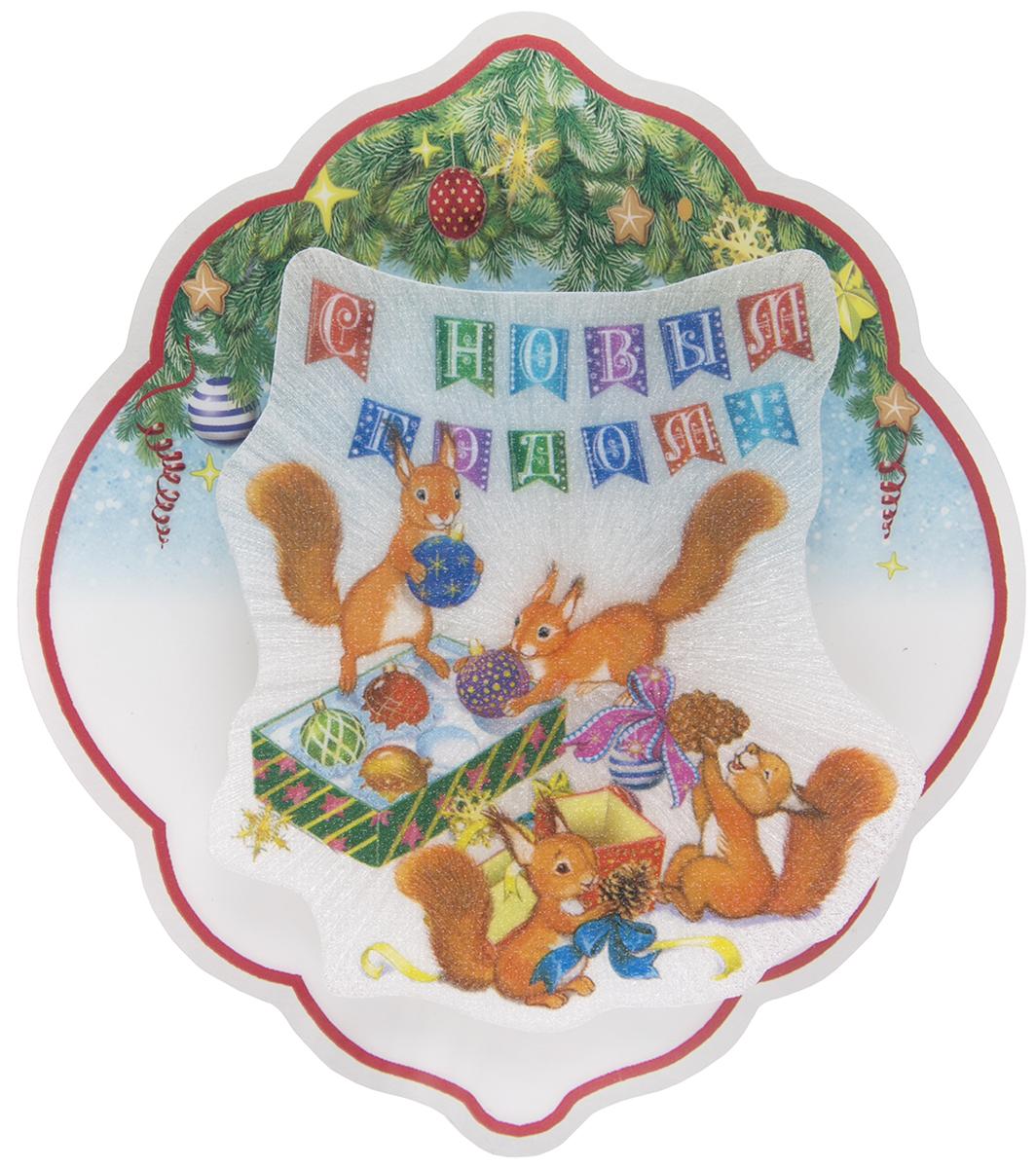 Новогоднее подвесное украшение Magic Time Белочки, с подсветкой76128Новогоднее украшение Magic Time со светодиодной подсветкой, выполненное из ПВХ, отлично подойдет для декорации вашего дома и новогодней ели. С помощью специальной петельки украшение можно повесить в любом понравившемся вам месте. Но, конечно, удачнее всего оно будет смотреться на праздничной елке. Елочная игрушка - символ Нового года. Она несет в себе волшебство и красоту праздника. Такое украшение создаст в вашем доме атмосферу праздника, веселья и радости. В комплекте элемент питания LR44, мощностью 0,06 Вт, напряжением 3 В.