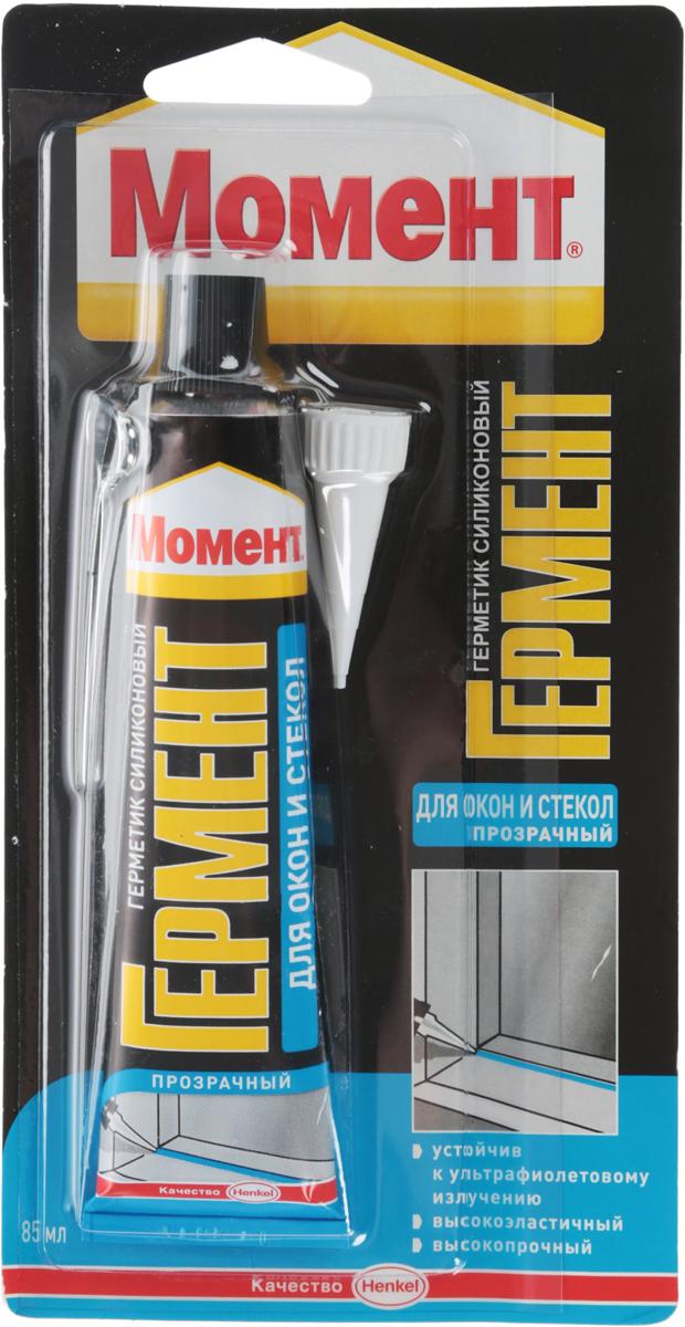 Герметик силиконовый Момент Гермент, для окон и стекол, цвет: прозрачный, 85 мл герметик силиконовый момент гермент санитарный цвет прозрачный 280 мл