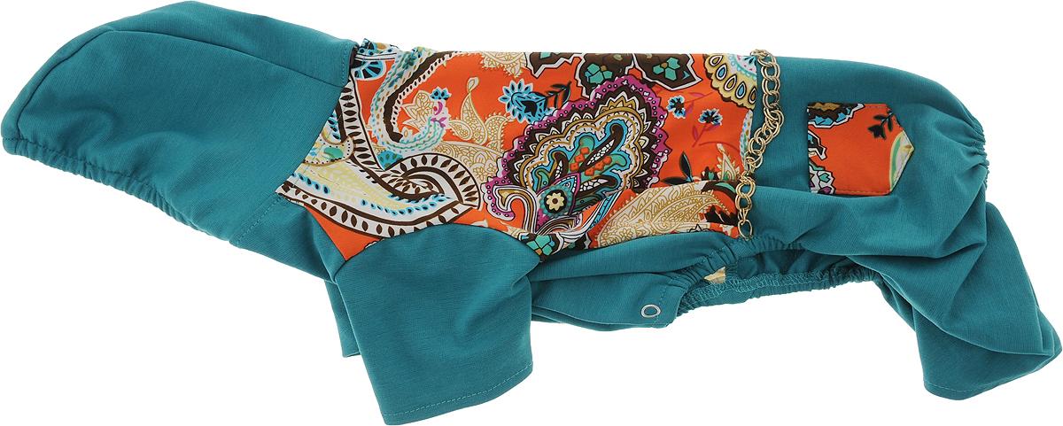 Комбинезон для собак GLG Цепочки, цвет: темно-бирюзовый, оранжевый. Размер L дождевик прогулочный для собак glg цветок цвет темно синий размер l