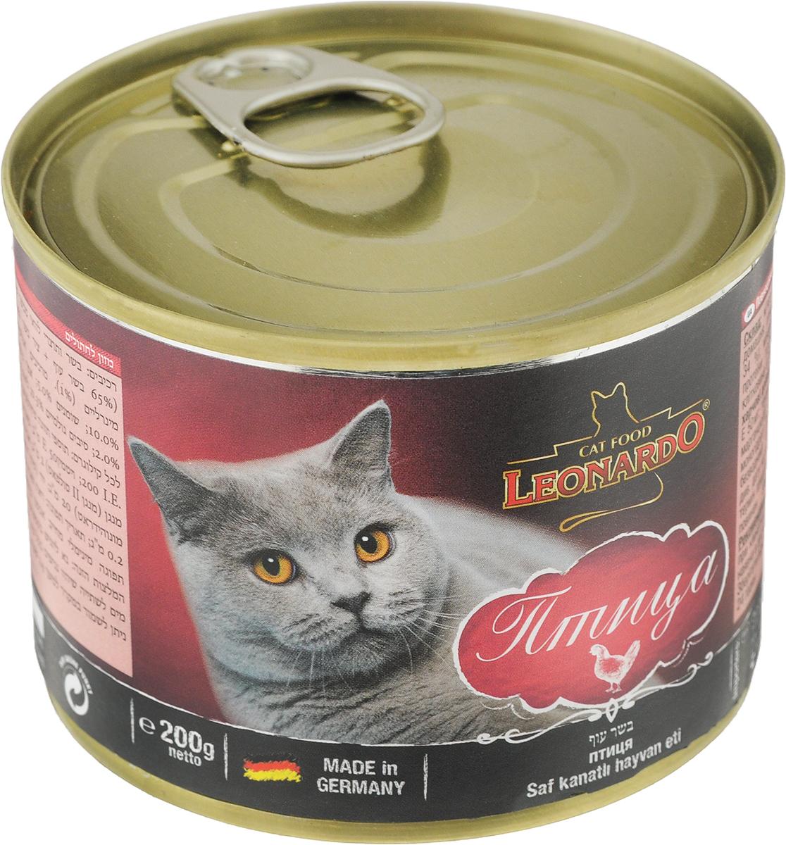 "Корм консервированный ""Leonardo"" для кошек, с птицей, 200 г"