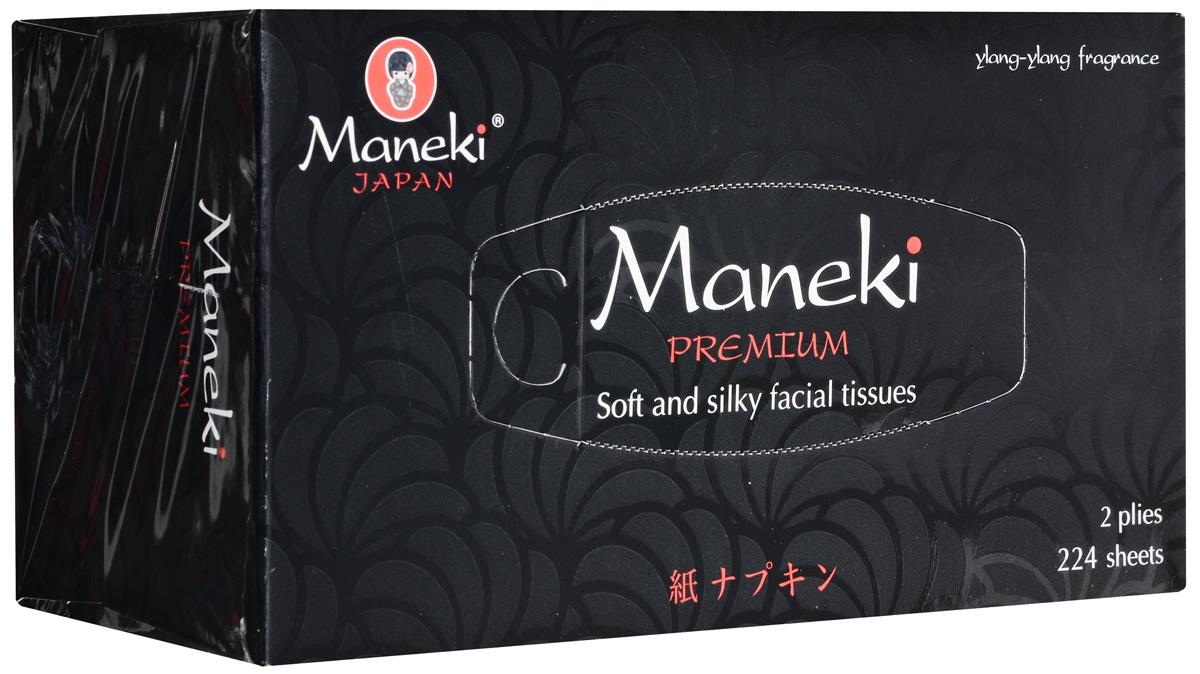 Салфетки бумажные Maneki Black & White, ароматизированные, двухслойные, цвет упаковки: черный, 19,5 x 19 см, 224 шт paperproducts design салфетки ginza black бумажные 16 5х16 5 см 20 шт 1332162 paperproducts design