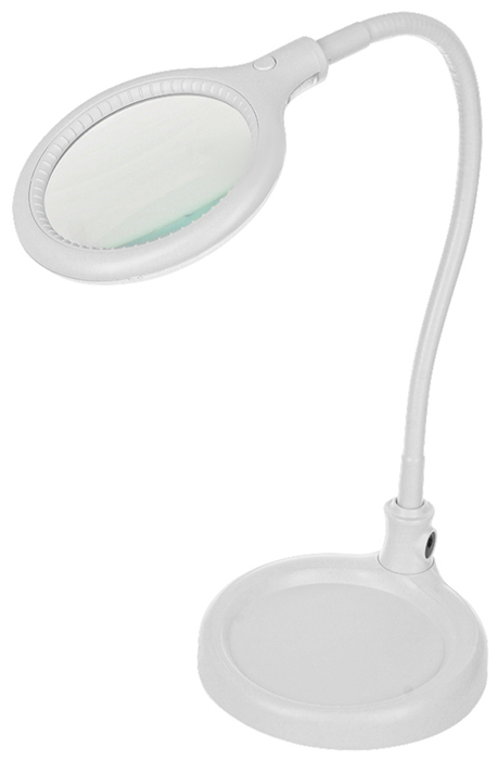Лупа настольная малая 3X с подсветкой 30 LED (подставка + прищепка), белая Rexant цена и фото