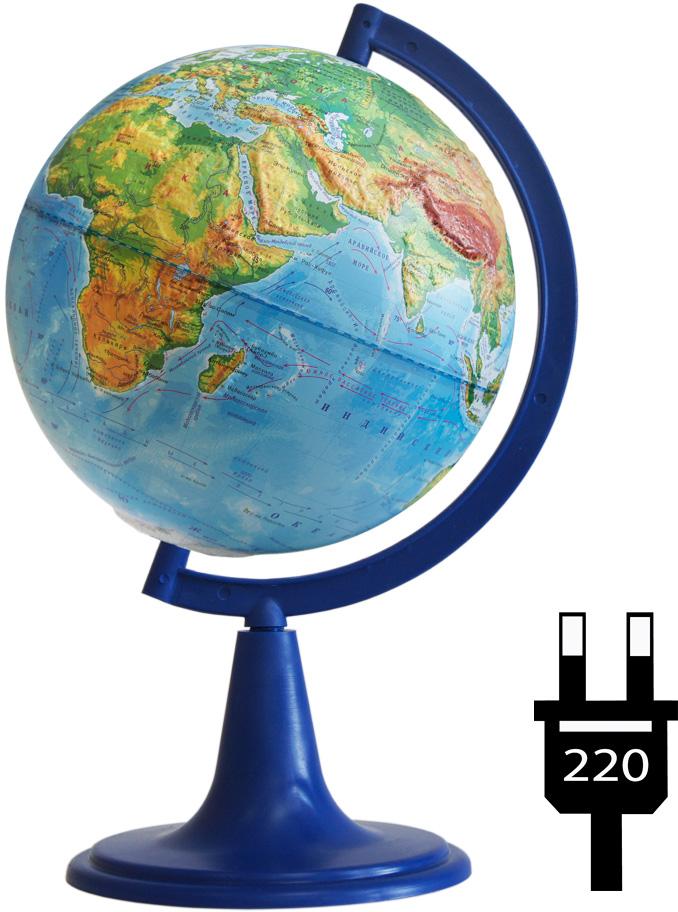 Глобусный мир Глобус с физической картой, рельефный, диаметр 15 см, на подставке, с подсветкой глобусный мир глобус с физической картой рельефный диаметр 25 см на деревянной подставке