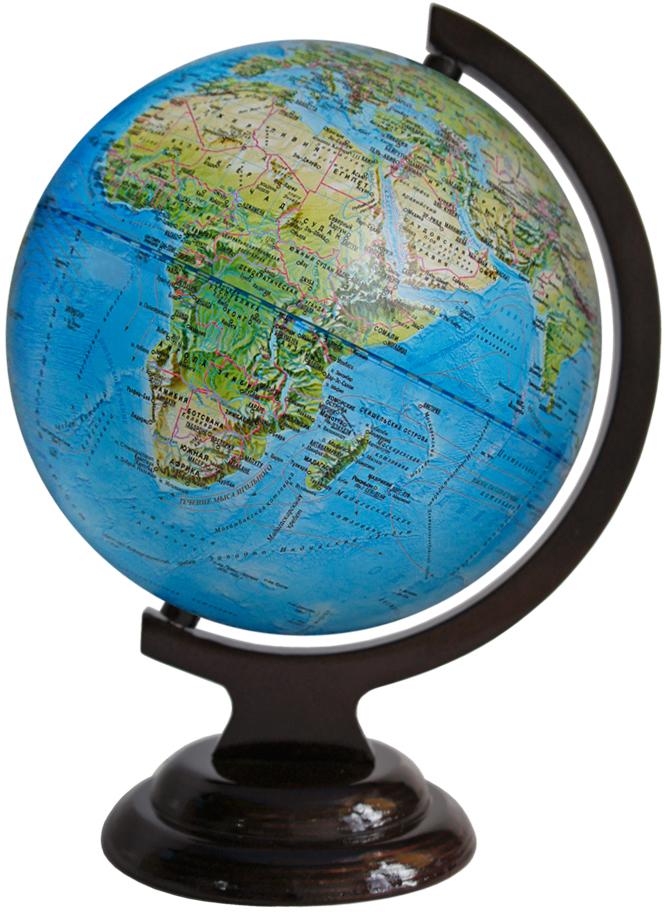 Глобусный мир Ландшафтный глобус, диаметр 21 см, на деревянной подставке глобусный мир глобус ландшафтный диаметр 32 см
