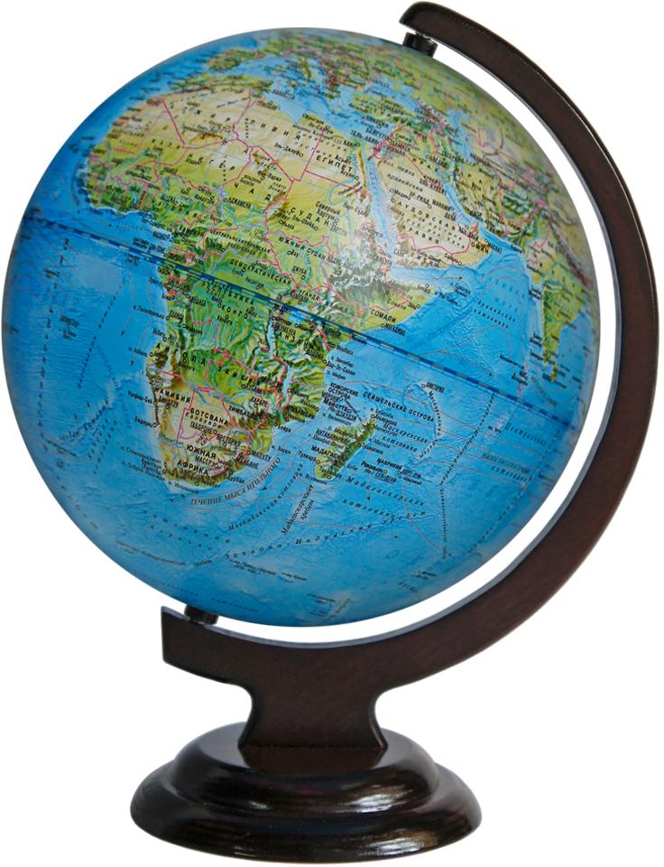 Глобусный мир Ландшафтный глобус, диаметр 25 см, на деревянной подставке глобусный мир глобус ландшафтный диаметр 32 см
