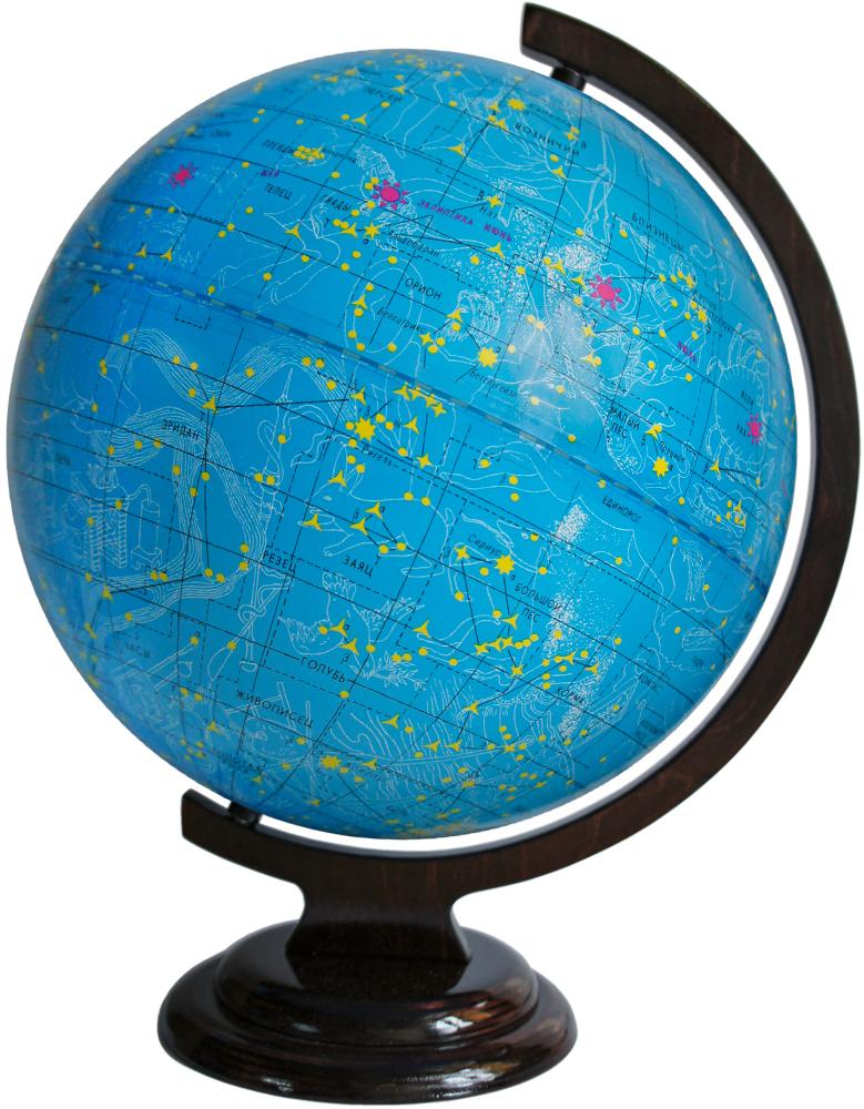 Глобусный мир Глобус звездного неба, диаметр 32 см. 1006510295Глобус звездного неба Глобусный мир, изготовлен из высококачественного прочного пластика. Данная модель предназначена для ознакомления с космосом, звездами и созвездиями. На нем нанесены те же круги, что и на картах звёздного неба, - небесные параллели, меридианы, экватор и эклиптика. Такой глобус станет прекрасным подарком и учебным материалом для дальнейшего изучения астрономии. Помимо этого, глобус обладает приятной цветовой гаммой. Изделие расположено на деревянной подставке. Настольный глобус звездного неба Глобусный мир станет оригинальным украшением рабочего стола или вашего кабинета. Это изысканная вещь для стильного интерьера, которая станет прекрасным подарком для современного преуспевающего человека, следующего последним тенденциям моды и стремящегося к элегантности и комфорту в каждой детали. Масштаб: 1:40 000 000.