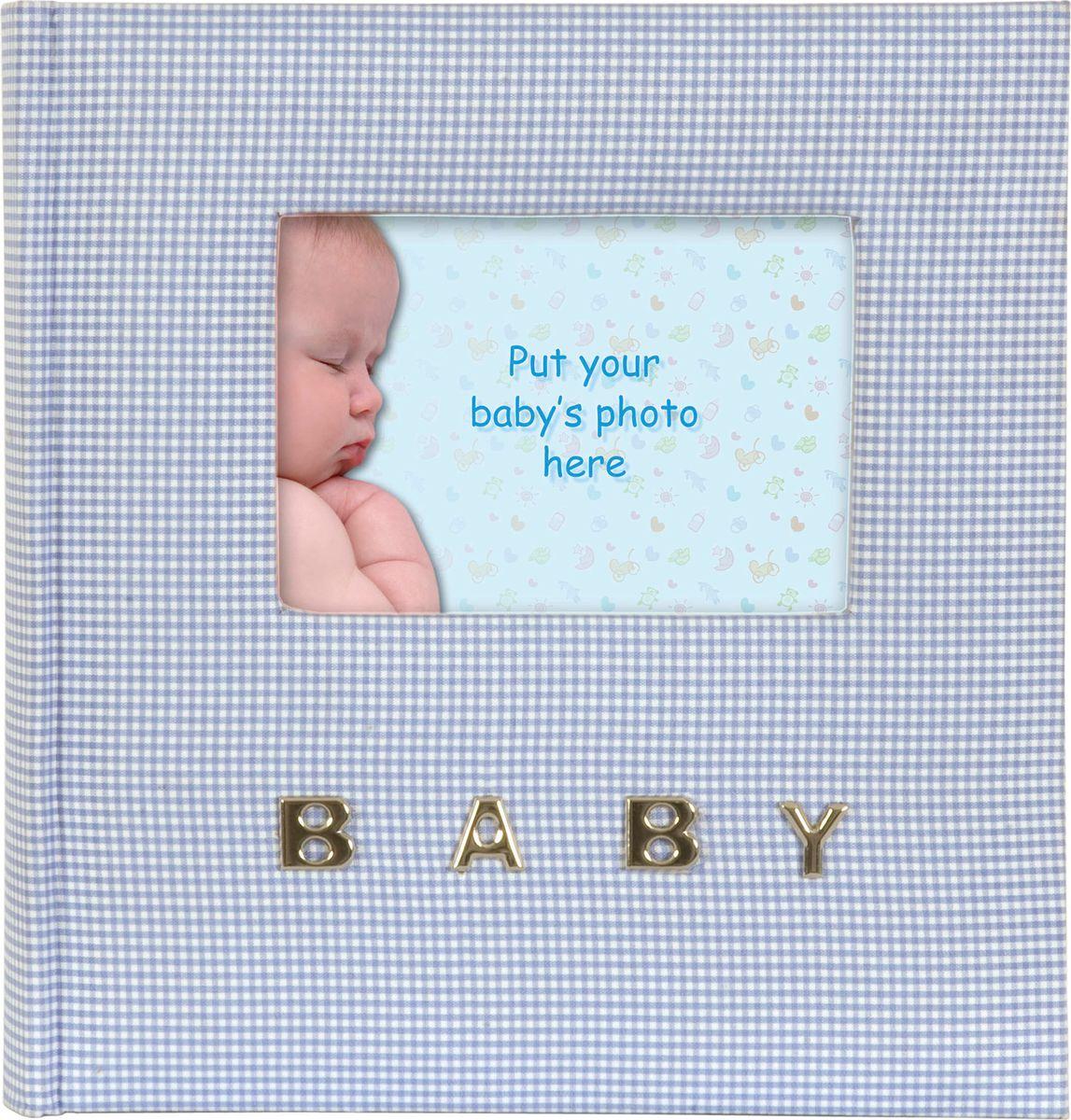 Фотоальбом Innova Baby Gingham, цвет: голубой, 100 фотографий, 10 x 15 см. Q9306338 фотоальбом platinum детский альбом 6 200 фотографий цвет голубой 10 х 15 см