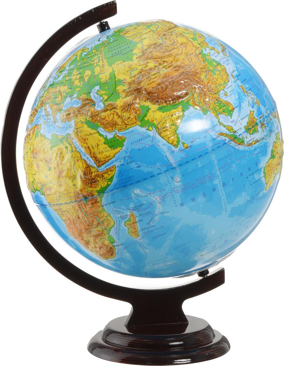 Глобус Глобусный мир, с физической картой мира, рельефный, на деревянной подставке, диаметр 32 см глобусный мир глобус с физической картой рельефный диаметр 25 см на деревянной подставке