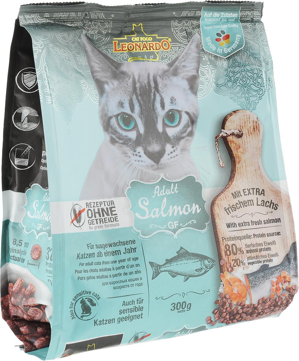 """Корм сухой Leonardo """"Adult Salmon GF"""", для взрослых кошек с чувствительностью к злакам, беззерновой, с лососем, 300 г"""