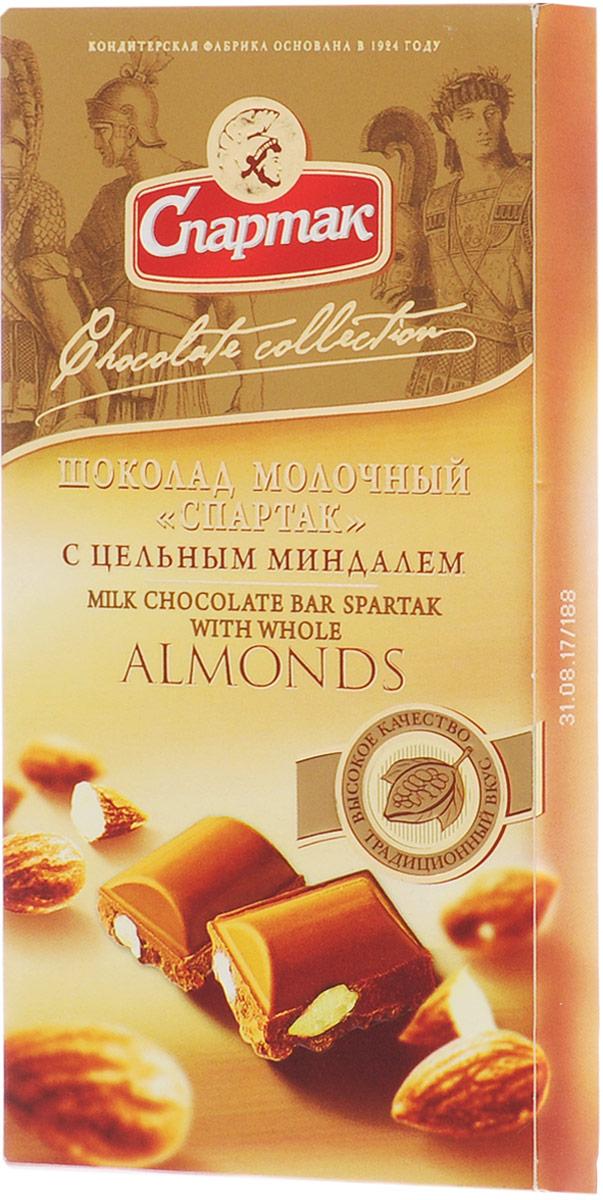 Спартак шоколад молочный с цельным миндалем, 90 г спартак шоколад молочный 500 г