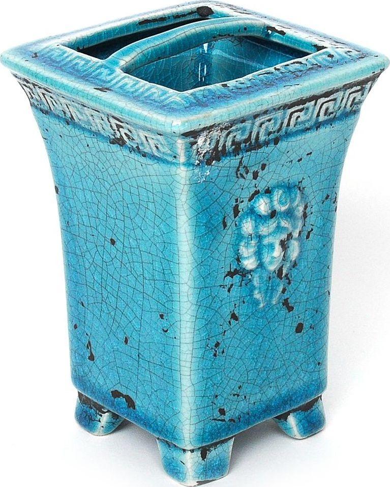 Стакан для зубных щеток Wess Gorgelur, с разделителем, цвет: синий. G86-42 ершик для туалета wess gorgelur с подставкой цвет синий g79 42