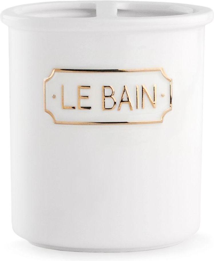 Стакан для зубных щеток Wess Le Bain blanc, с разделителем, цвет: белый. G86-81 стакан wess le bain gris керамика серый