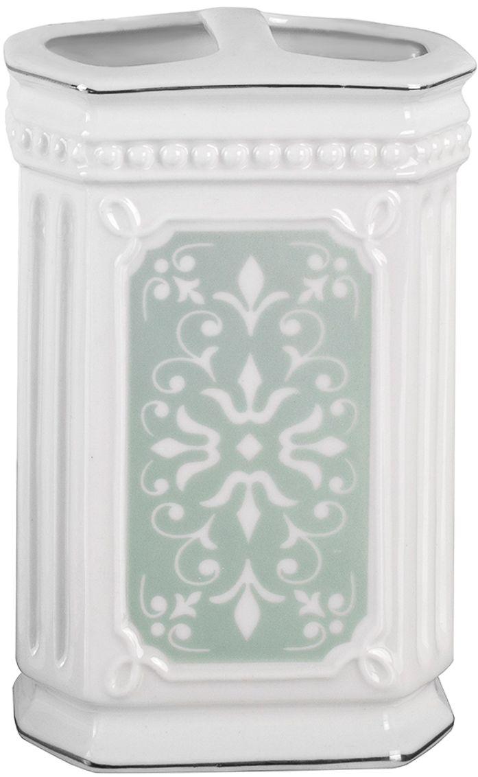 """Стакан для зубных щеток Wess """"Hermitage"""", с разделителем, цвет: белый. G86-84"""