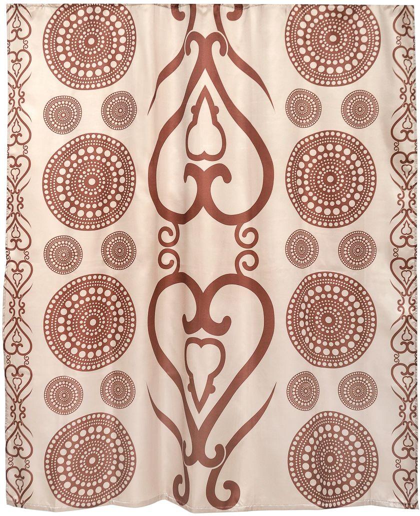 Штора для ванной Wess Zelidzh, цвет: коричневый, 180 х 200 см. T536-3 ершик для туалета wess zelidzh с подставкой цвет коричневый g79 77