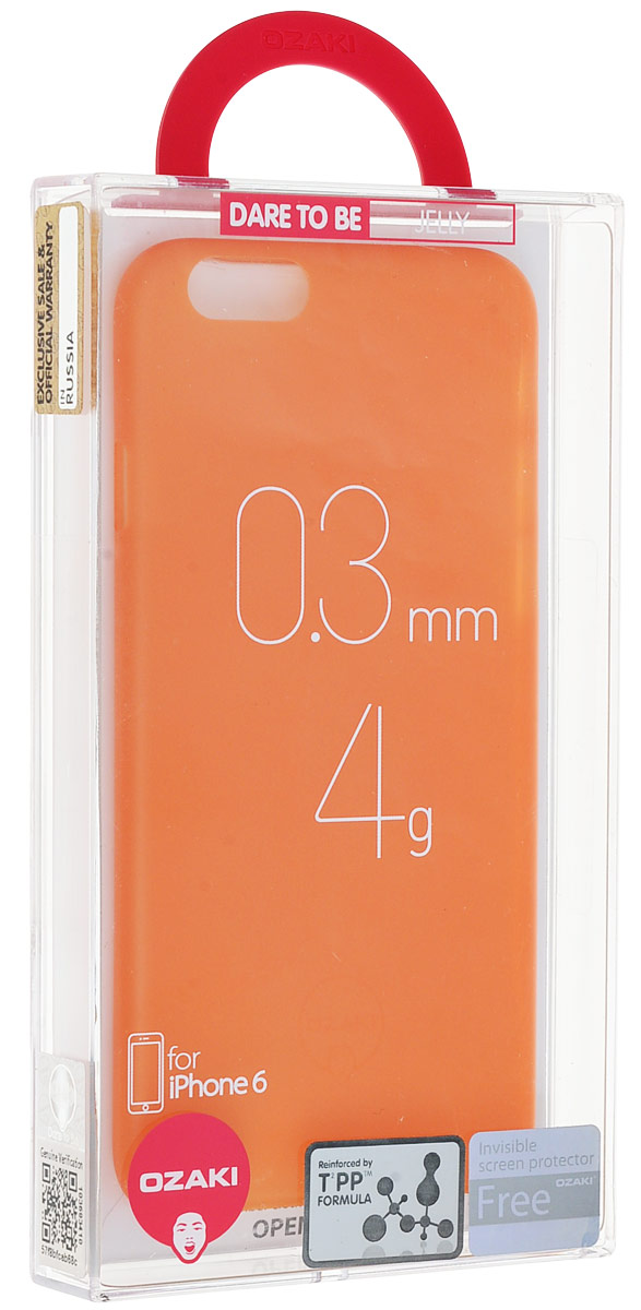 Ozaki O!coat 0.3 Jelly Case чехол для iPhone 6, Orange чехол книжка 450110 samsung galaxy s4 ozaki o coat original worldpass в виде обложки от паспорта африка