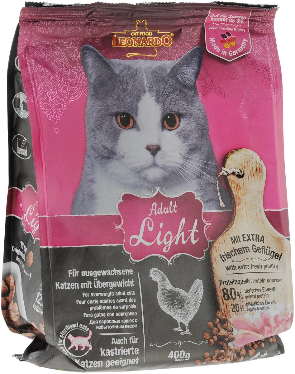 """Корм сухой Leonardo """"New Лайт"""" для кастрированных котов и стерилизованных кошек, для животных, страдающих избыточным весом, 400 г"""
