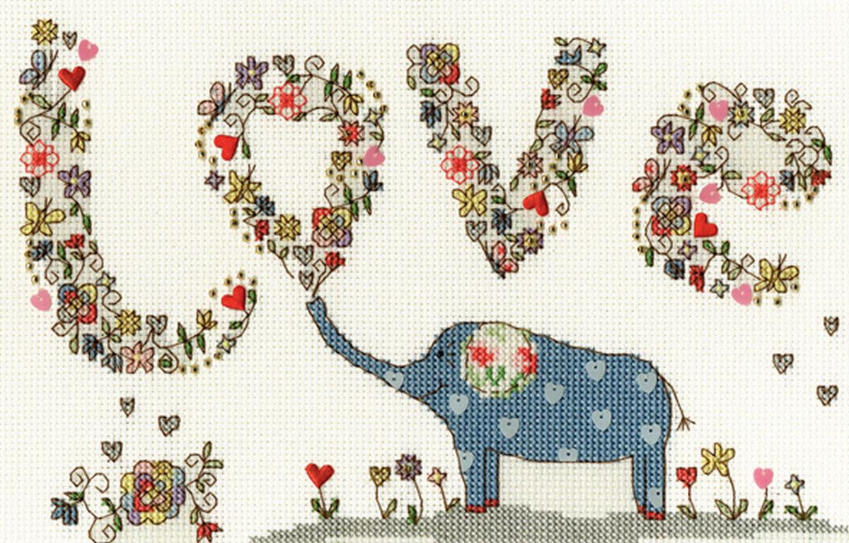 """Набор для вышивания крестом Bothy Threads """"Люблю Элли"""", 24 x 16 см"""