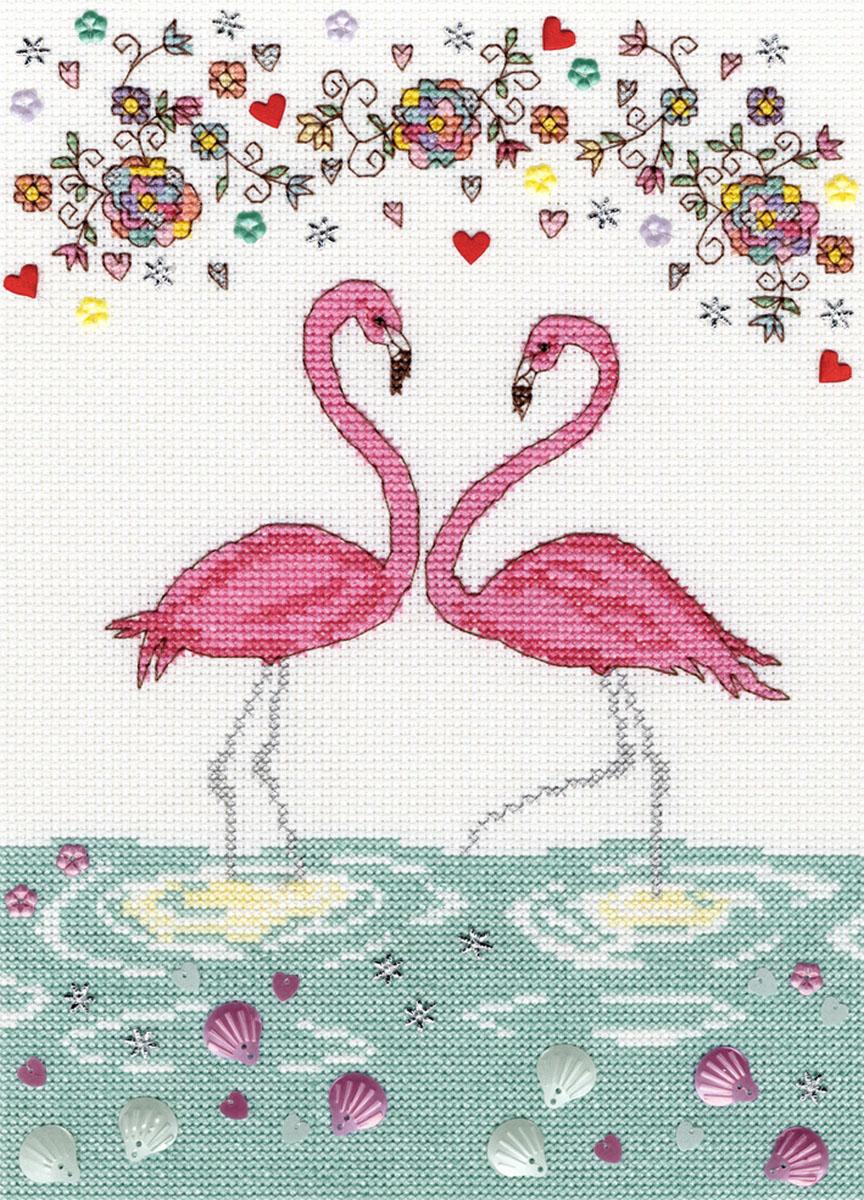 Набор для вышивания крестом Bothy Threads Любовь фламинго, 18 x 26 см набор для вышивания крестом bothy threads мышка шьет 18 x 18 см