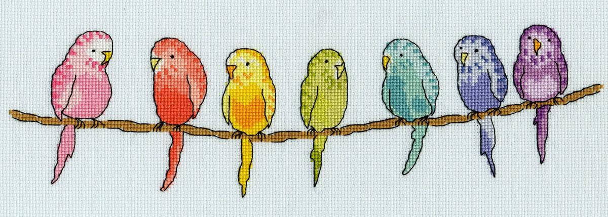 Набор для вышивания крестом Bothy Threads Попугайчики, 30 x 10 смXRO9Набор для вышивания Bothy Threads поможет вам создать свой личный шедевр - красивую вышитую картину. Постепенно, вышивая ряд за рядом, вы создадите чудесное изображение. Картина станет украшением вашего дома или прекрасным подарком для близких людей. В набор входит: канва Aida 16, мулине, игла, схема, инструкция.