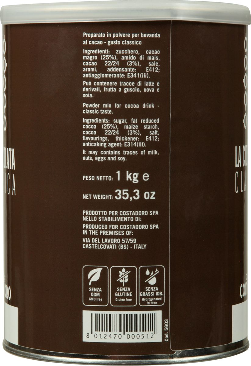 Costadoro Powder for Hot Chocolateгорячий шоколад, 1 кг Costadoro