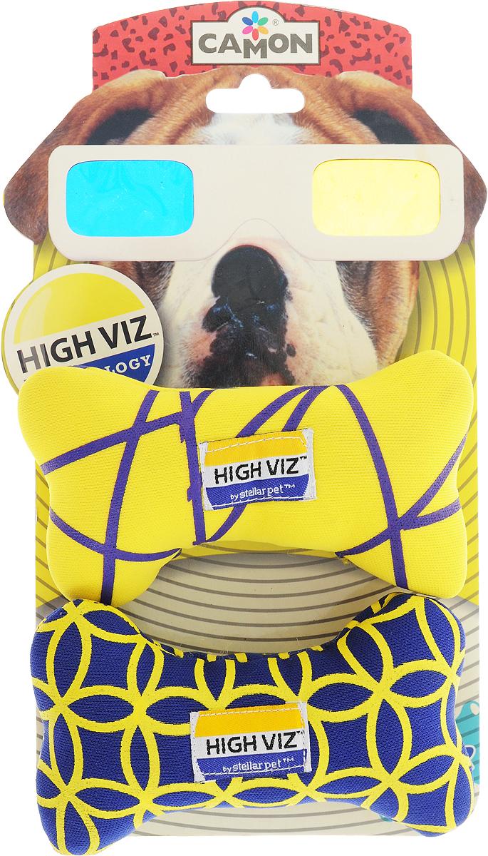 Игрушка для собак Camon High VIZ. Косточка, длина 12 см, 2 шт игрушка для собак kong косточка средняя с пищалкой цвет фиолетовый 15 5 х 6 5 х 3 5 см
