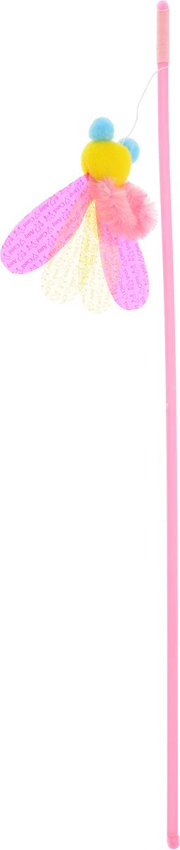 Игрушка-дразнилка для кошек GLG Пчелка, длина 45 см игрушка для кошек glg дразнилка удочка с пером с колокольчиком длина 45 см