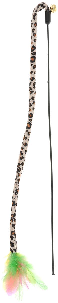 Игрушка для кошек GLG Дразнилка-удочка с пером, с колокольчиком, длина 45 см игрушка для кошек glg дразнилка удочка с пером с колокольчиком длина 45 см