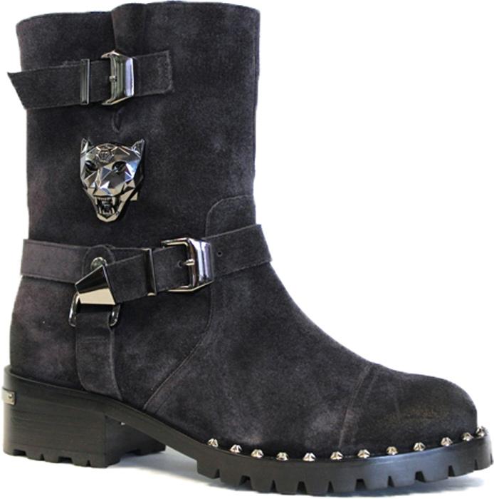 e3c895377 Женские ботинки от Graciana на устойчивом каблуке выполнены из натурального  спилка и оформлены декоративными ремнями и металлическим элементом в виде  головы ...
