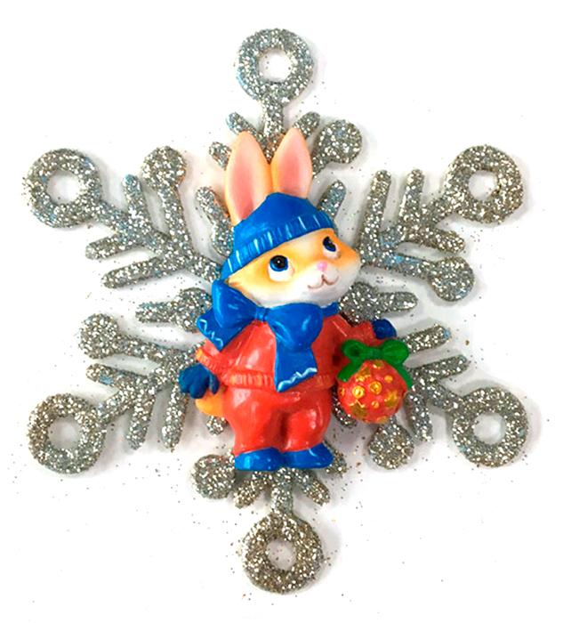 Украшение новогоднее подвесное Magic Time Зайка в снежинке новогоднее подвесное украшение нотная тетрадь цвет золотистый 25065