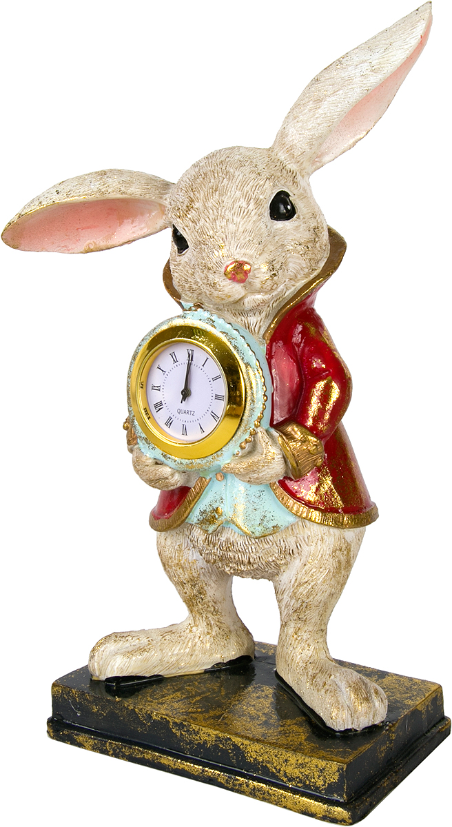 Фигурка декоративная Magic Home Кролик с часами, высота 22 см76667Фигурка декоративная Кролик с часами с кварцевыми часами - это прекрасное украшение интерьера, выполненное из высококачественной полирезины. Это простой и доступный способ сделать неповторимым свой интерьер, как дома, так и в офисе. Сказочный персонаж создает атмосферу волшебства и радости, которая увлечёт за собой детей и взрослых. Изумительная фигурка станет отличным подарком для близких и друзей, вызывая улыбку и поднимая настроение с первого взгляда. В коллекции ЧУДЕСНАЯ СТРАНА представлено несколько обаятельных и задорных героев, которые покоряют своей оригинальностью.Для замены батарейки часы необходимо извлечь из углубления. Рекомендуем!