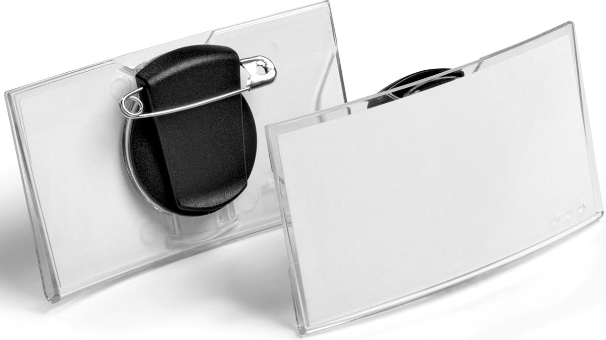 Durable Бейдж Konvex горизонтальный с клипом и булавкой durable бейдж 8135 19