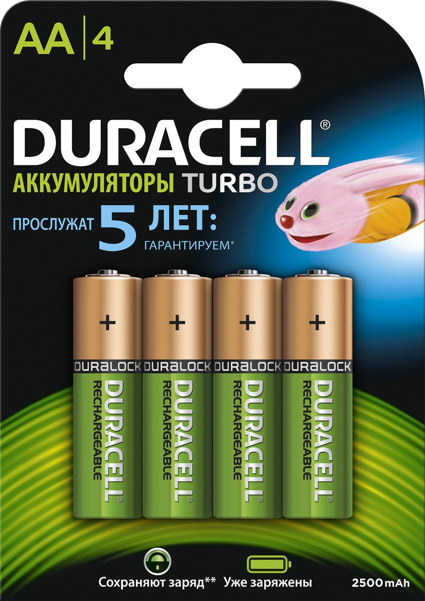 Аккумуляторная батарейка Duracell Recharge Turbo, АА 2500 mAh, 4 шт аккумуляторы hr06 aa duracell turbo ni mh 2400 2500 mah 2шт