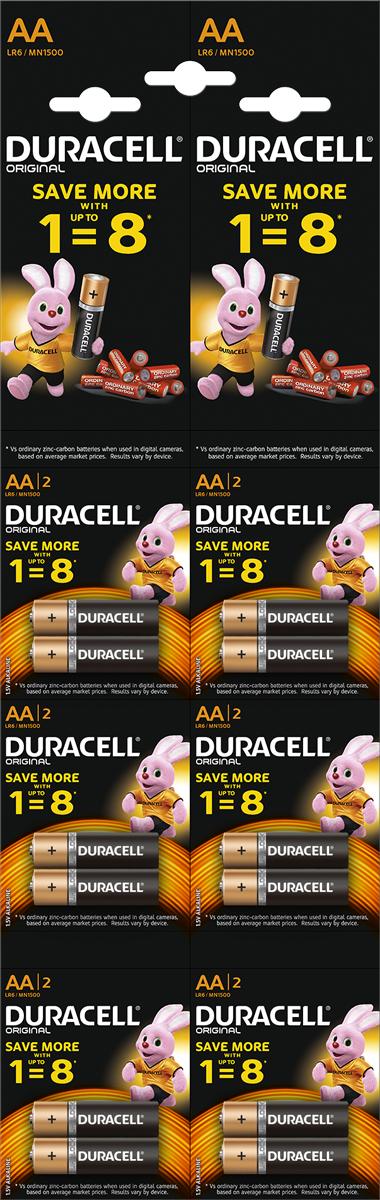 Набор щелочных батареек Duracell Basic, тип АА, 12 шт батарейки duracell аа lr6 2bl basic cn 2 шт