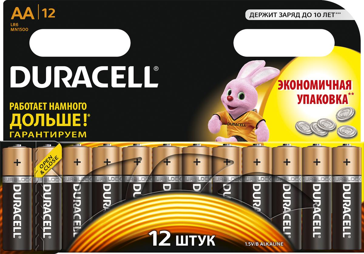 Набор щелочных батареек Duracell, тип AA, 12 шт батарейки duracell аа lr6 2bl basic cn 2 шт