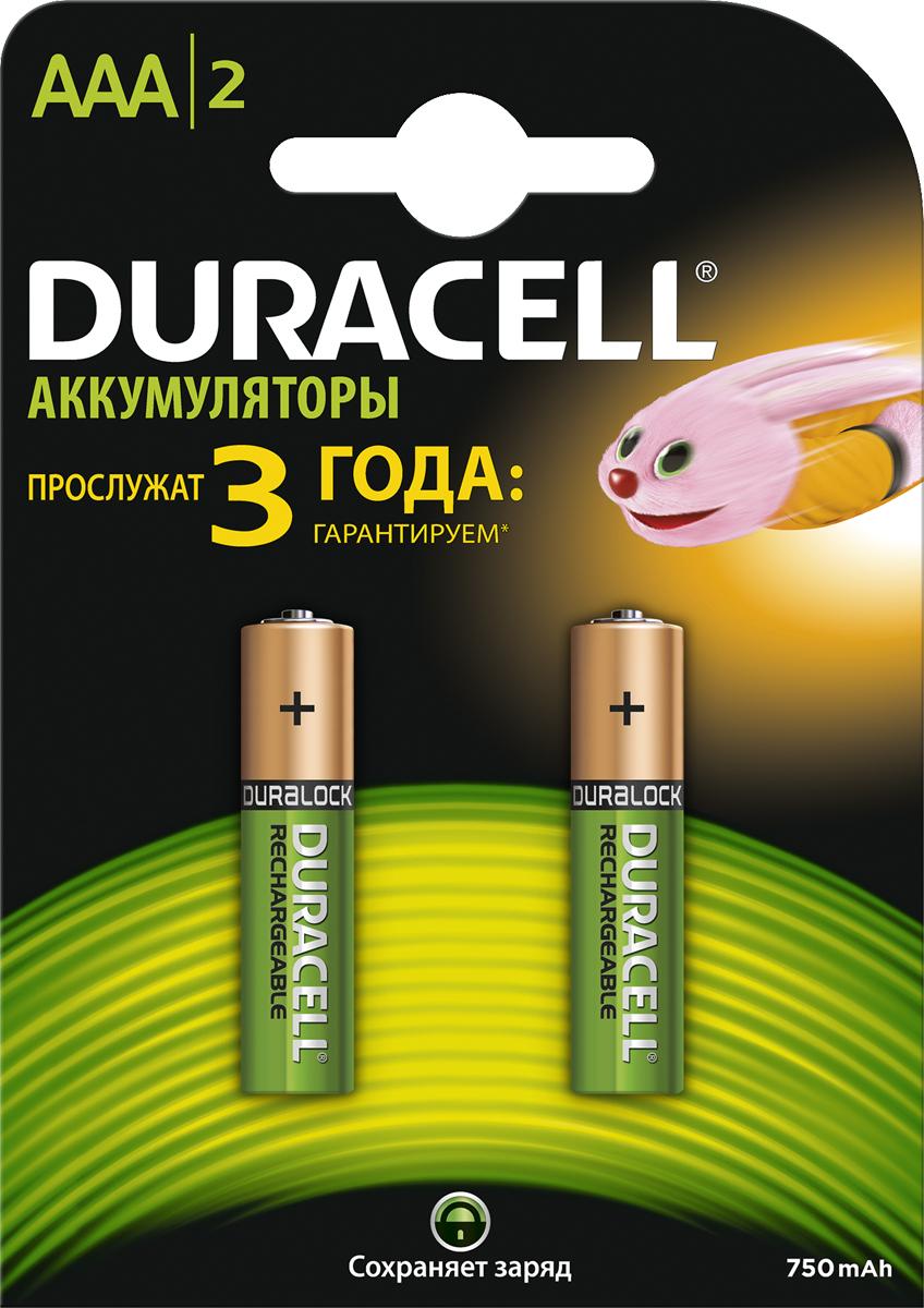Набор аккумуляторов Duracell Recharge, AAA NiMH 750 mAh, 2 шт аккумуляторы для фотоаппаратов