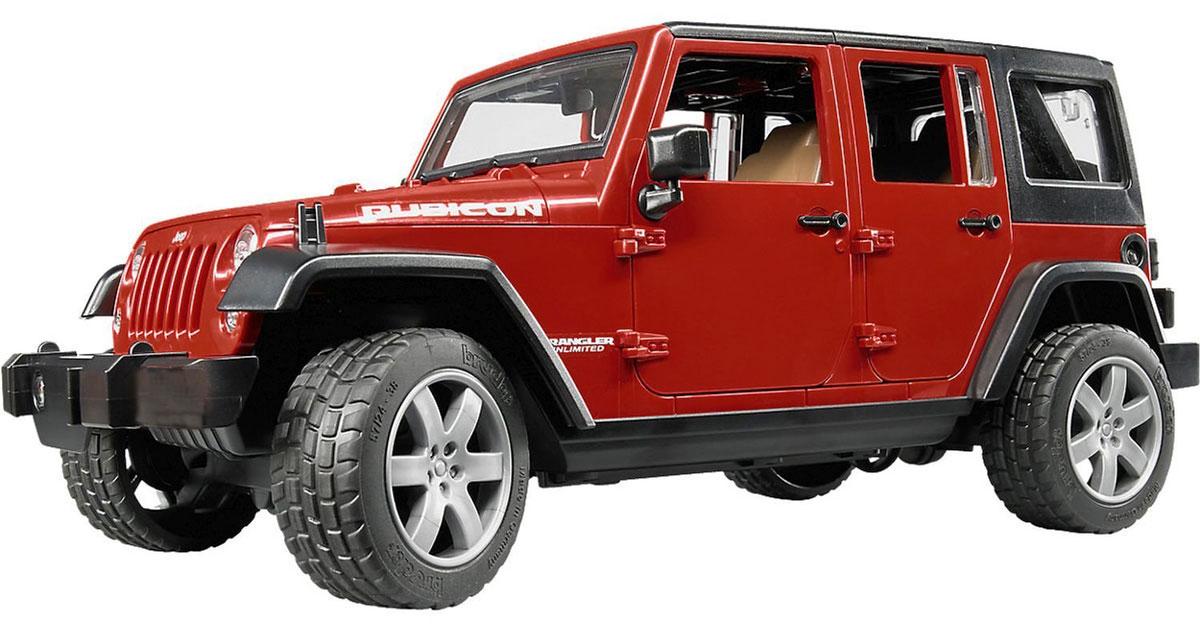 Bruder Внедорожник Jeep Wrangler Unlimited Rubicon цвет бордовый bruder внедорожник jeep wrangler unlimited rubicon c прицепом платформой и колёсным мини погрузчиком cat 02 925