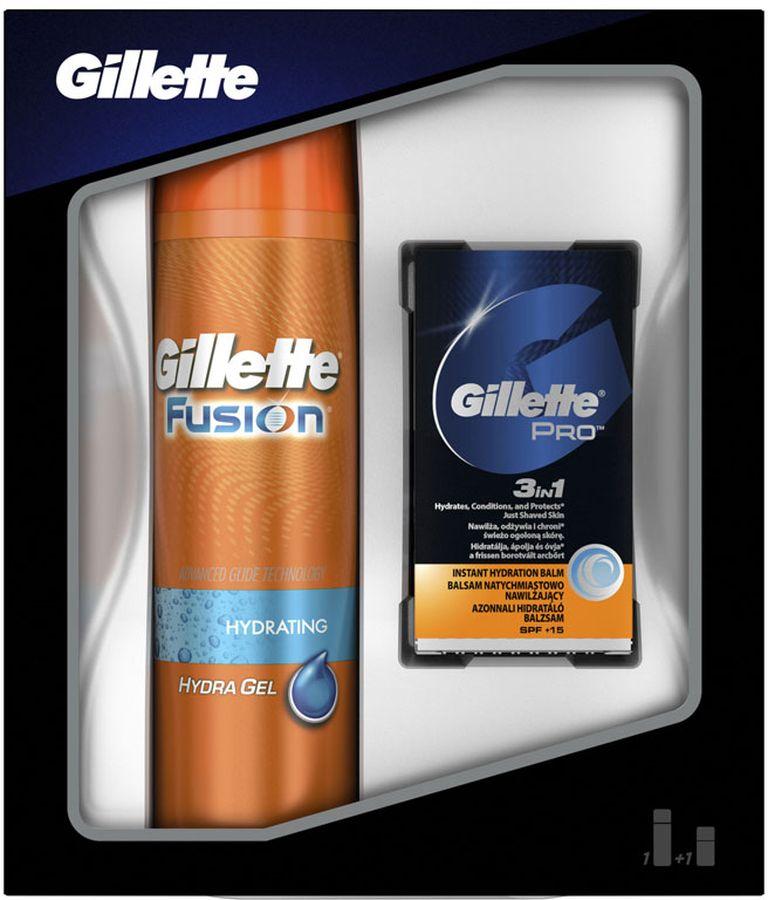 Gillette Fusion Гель Для Бритья, 200 мл Подарочный Набор + Бальзам 3в1, 50 мл гель для бритья в самолет