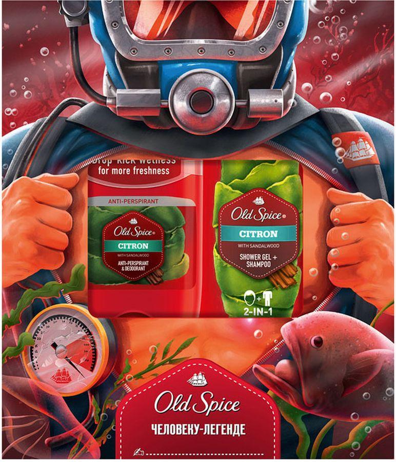Old Spice Citron подарочный набор для мужчин: твердый дезодорант-антиперспирант, 50 мл + гель для душа, 250 мл
