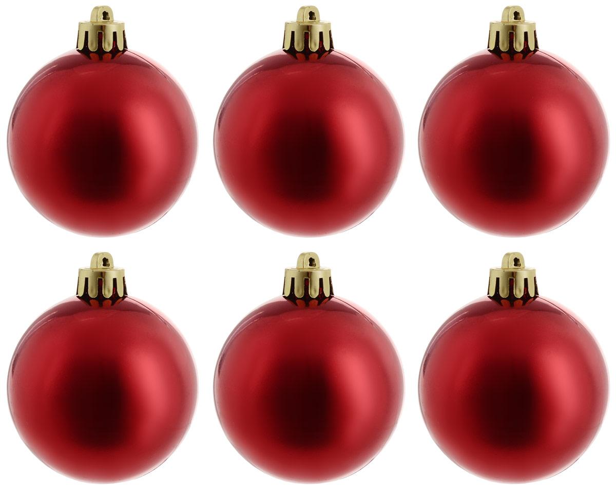 Украшение новогоднее подвесное Magic Time Шар. Глянец красный, 6 шт новогоднее подвесное украшение magic time шар цвет серебряный 6 см 4 шт