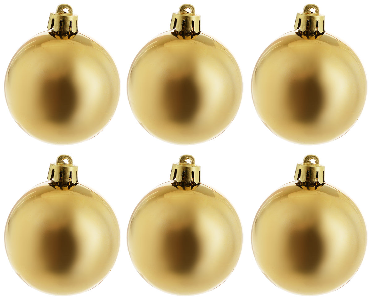 Украшение новогоднее подвесное Magic Time Шар. Глянец золотой, 6 шт новогоднее подвесное украшение magic time шар цвет серебряный 6 см 4 шт