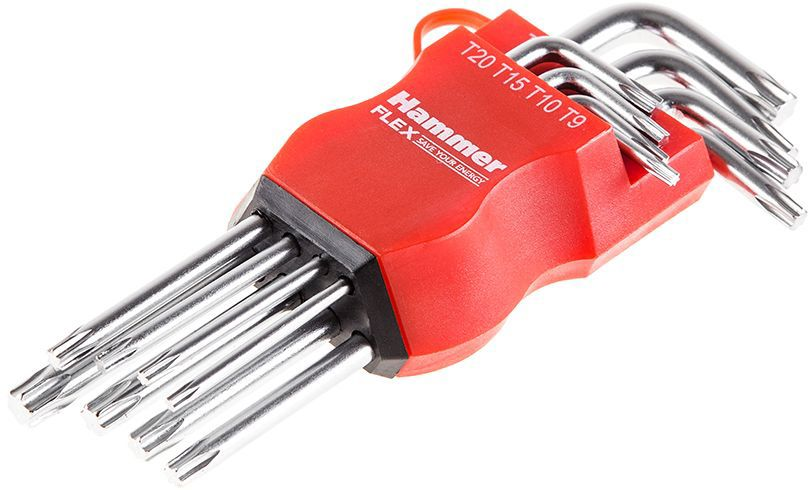 Набор торцевых ключей Hammer Flex 601-031 TORX, 8 шт ключ разводной hammer flex 601 038 300 мм диаметр 35 мм crv