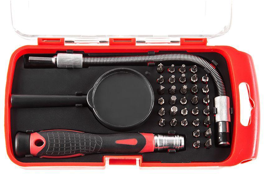 Отвертка Hammer Flex 601-033, с набором бит для точных работ, 36 предметов отвертка hammer flex 601 023 ph 3x150мм крестовая crv